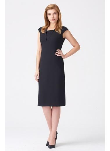 NaraMaxx V Yaka Kep Kol Elbise Siyah